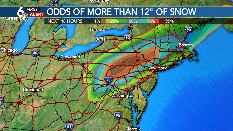 More than a foot of snow likely in the orange and red contours!