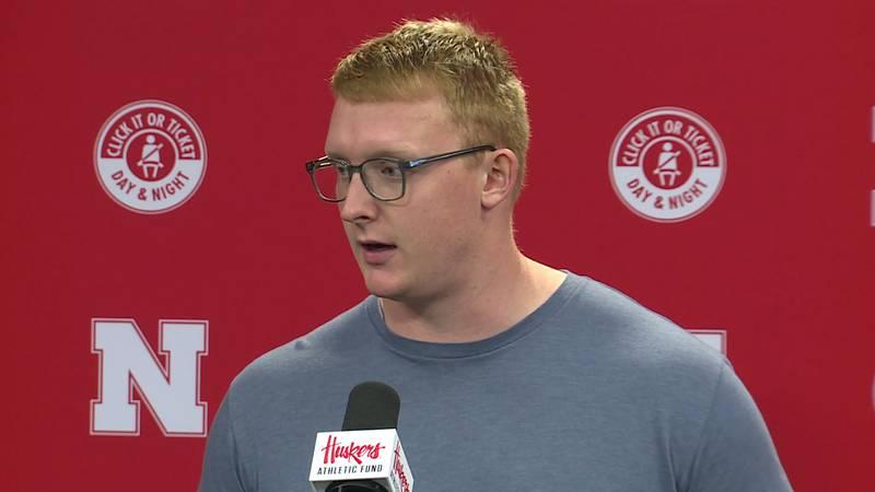 Nebraska junior offensive lineman Matt Sichterman talks to the media after practice on Monday,...