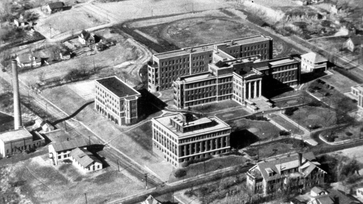 Aerial view of University Hospital, 1928.