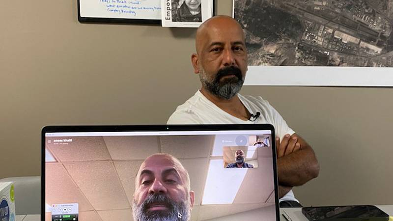 Brothers  Anees Khalil (on computer screen) and Zabby Rauf talk with WOWT about the Human First...