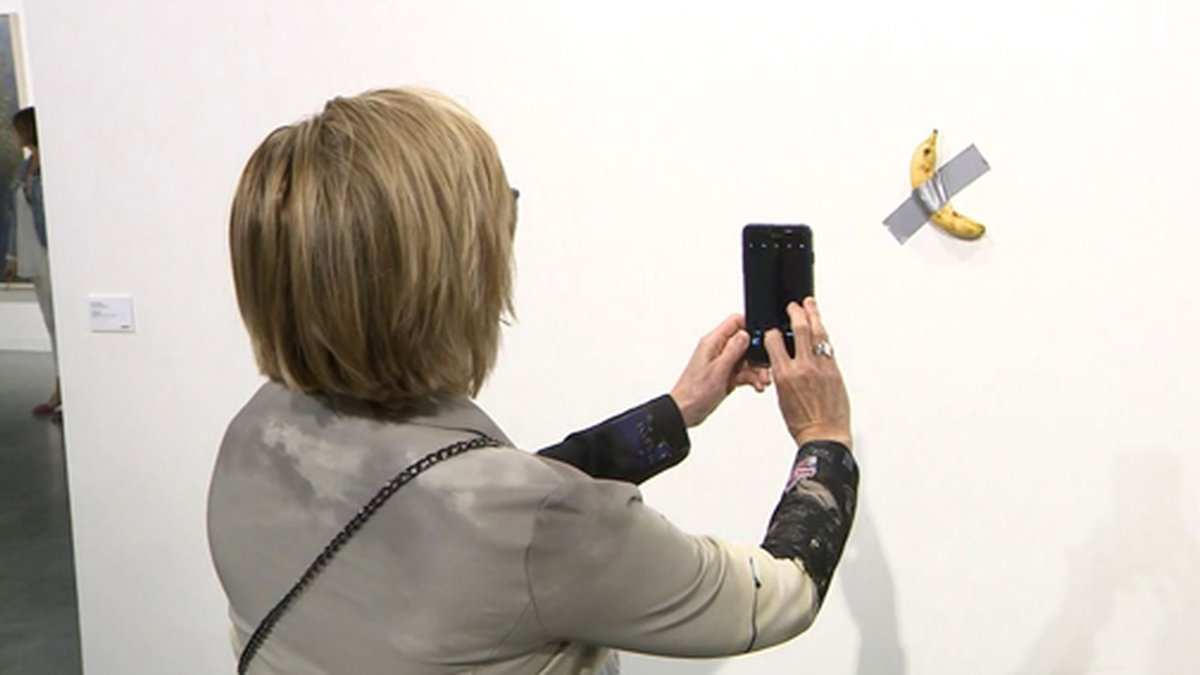 """A piece by artist Maurizio Cattelan called """"Comedian"""" sold for $120,000...."""