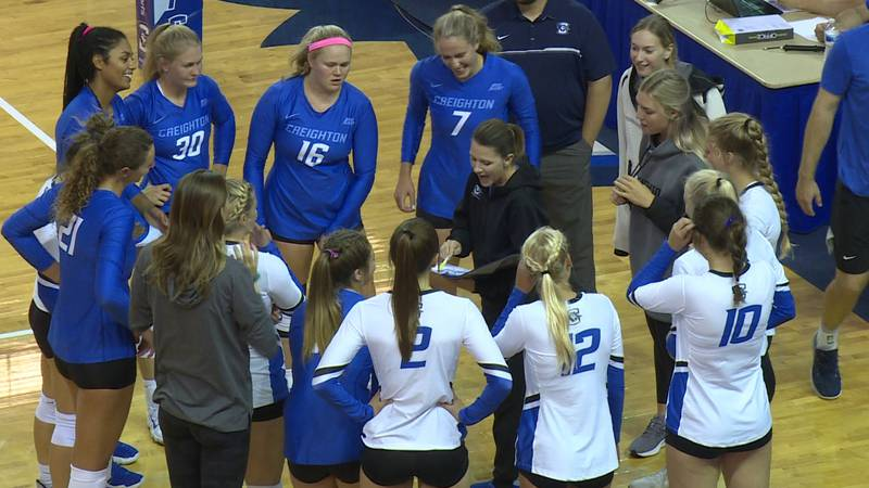 The Creighton volleyball team huddles before the start of the Blue/White match at D.J Sokol...