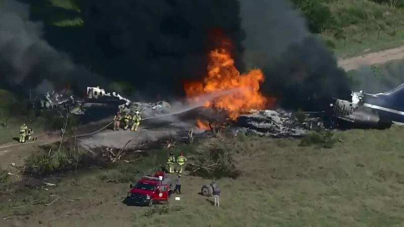 A private jet with 21 people aboard veered off a Texas runway and erupted in flames. All...