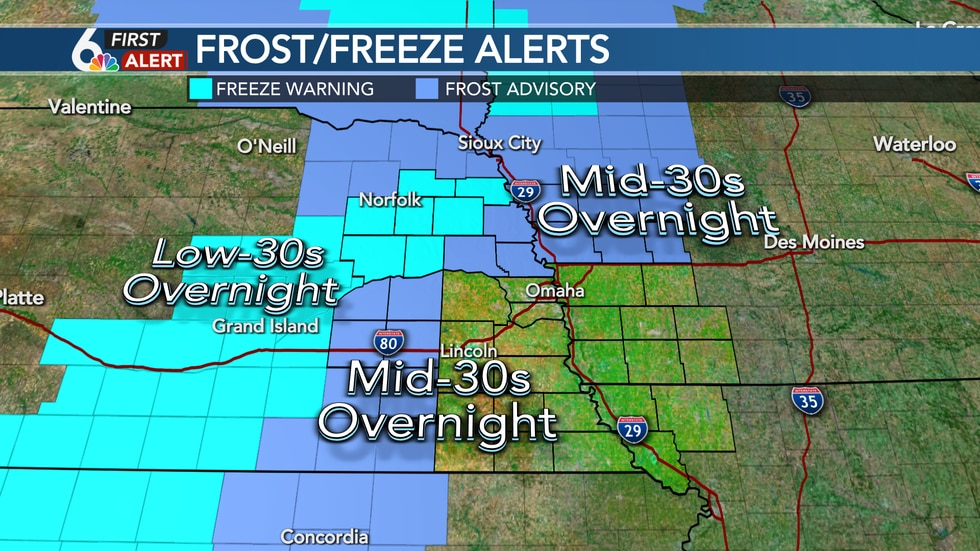 Frost and Freeze possible early Saturday