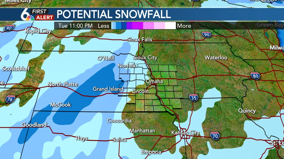 Most snow will stay west of the Omaha Metro Tuesday