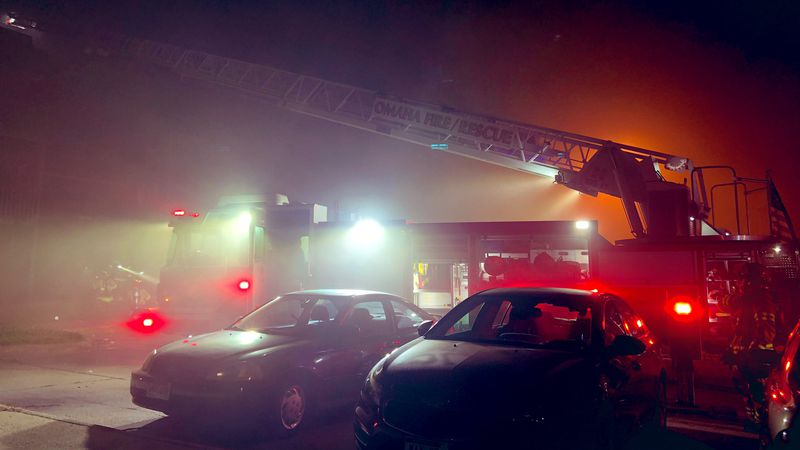 Omaha firefighters raced to the Pines at Q Plaza near 86th and R Plaza late Sunday night after...