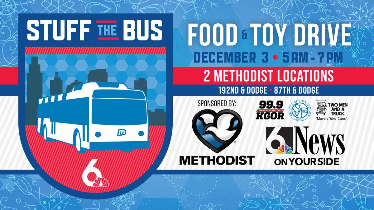 Help us Stuff the Bus on Dec. 3 sponsored by Methodist Health System.
