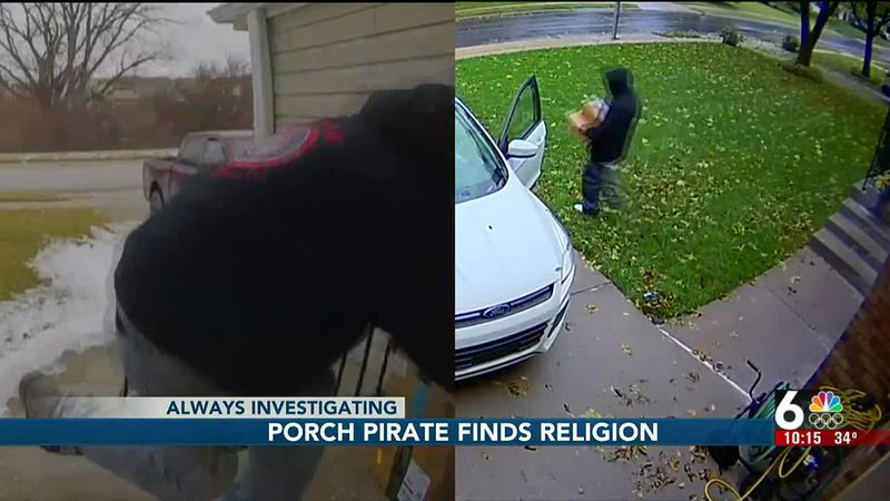 Porch pirate finds religion