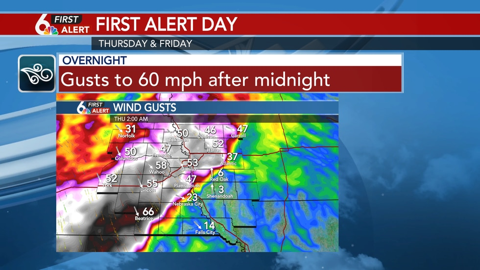 Strong wind gusts overnight
