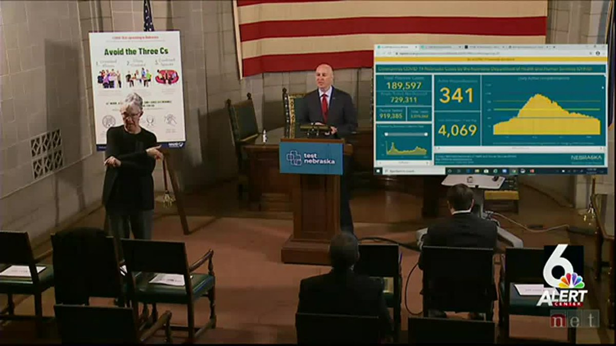 Nebraska Gov. Pete Ricketts gives an update on the state's COVID-19 response during a news...