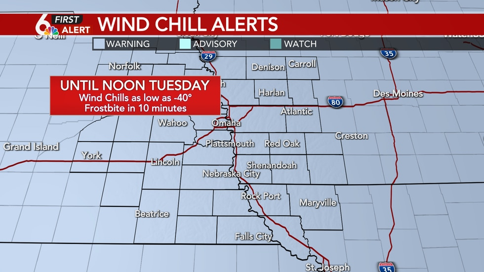 Wind chills could drop as low as -40°