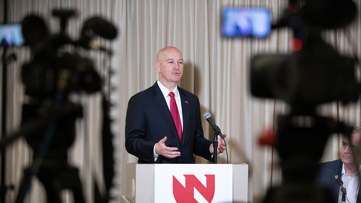 Nebraska Governor Pete Ricketts at the podium during a press conference following the release of two women from the National Quarantine Unit on the UNMC campus in Omaha. The two women, Jeri Seratti-Goldman and Joanne Kirkland were among those evacuated from the Diamond Princess cruise ship off the coast of Japan and brought to Nebraska to be monitored for the coronavirus. (Courtesy of UNMC/Nebraska Medicine)
