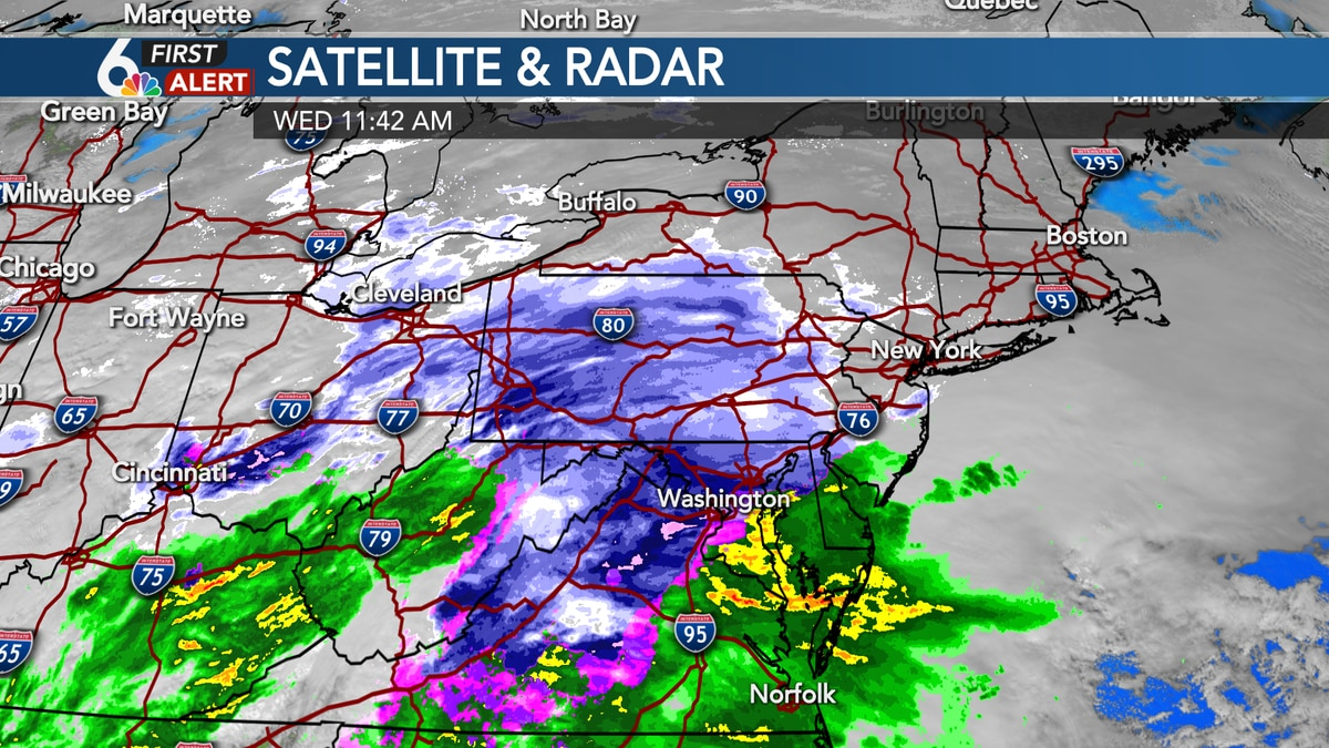 A look at precipitation midday Wednesday
