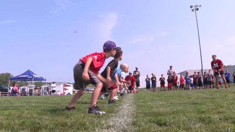 """Young football players line up to race at """"The Camp"""" in Papillion, hosted by Eliott Brown and..."""