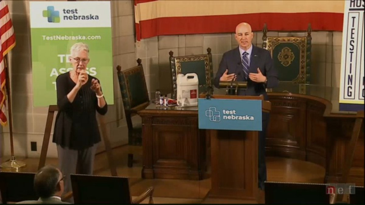 Nebraska Gov. Pete Ricketts made an announcement about the state's CARES Act funding during a...