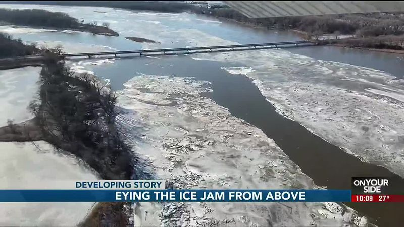 Eying the ice jam from above