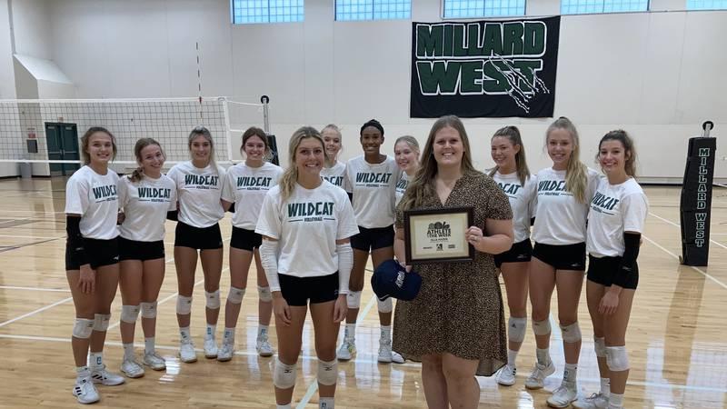 Millard West senior Ella Hazen is awarded the Athlete of the Week award at Millard West High...