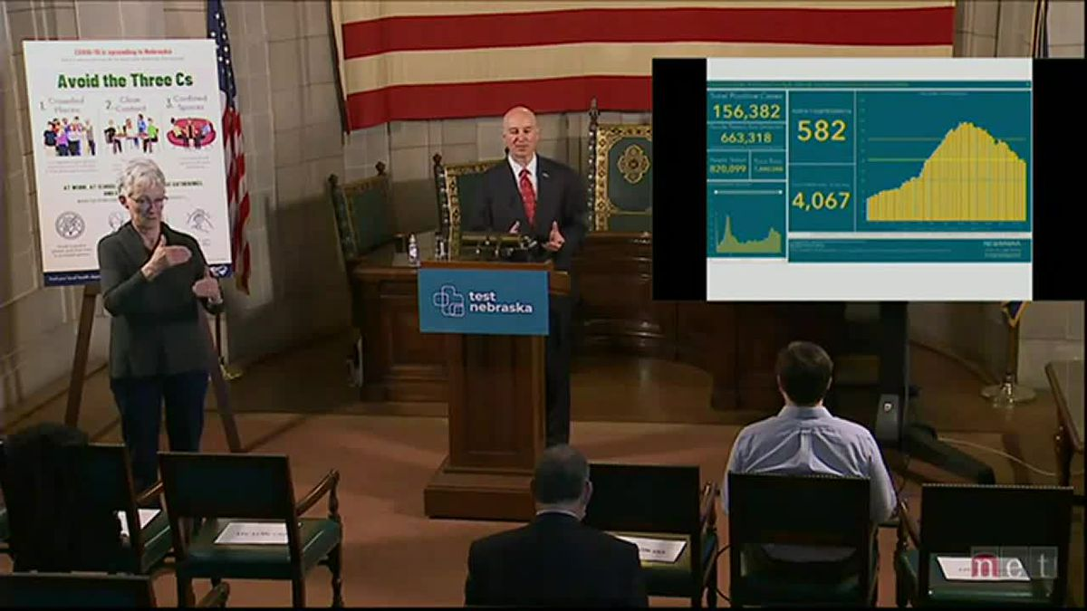 Nebraska Gov. Pete Ricketts gives an update on the state's COVID-19 response on Monday morning,...