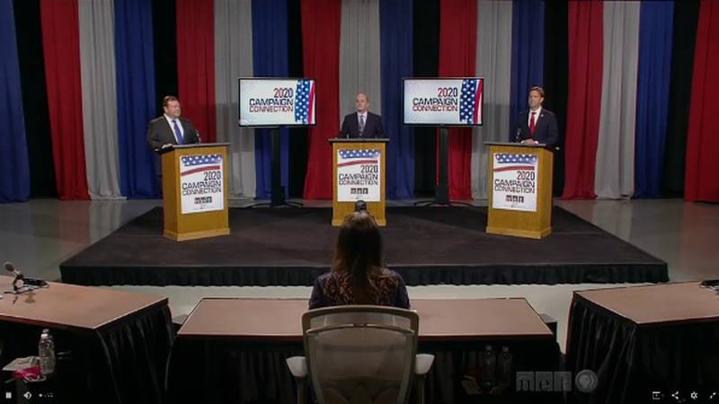 Sen. Ben Sasse and Chris Janicek face off on the debate stage Sept. 4, 2020