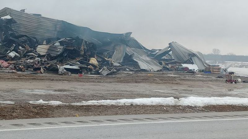 The Pride of Iowa Sandwiches manufacturing facility in Marengo, Iowa burned to the ground...