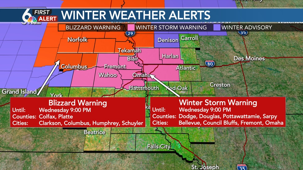 Blizzard and Winter Storm Warnings for Wednesday until 9pm