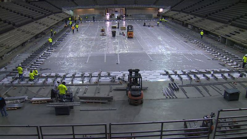 Work is underway to build the pools for the upcoming Olympic Swim Trials.