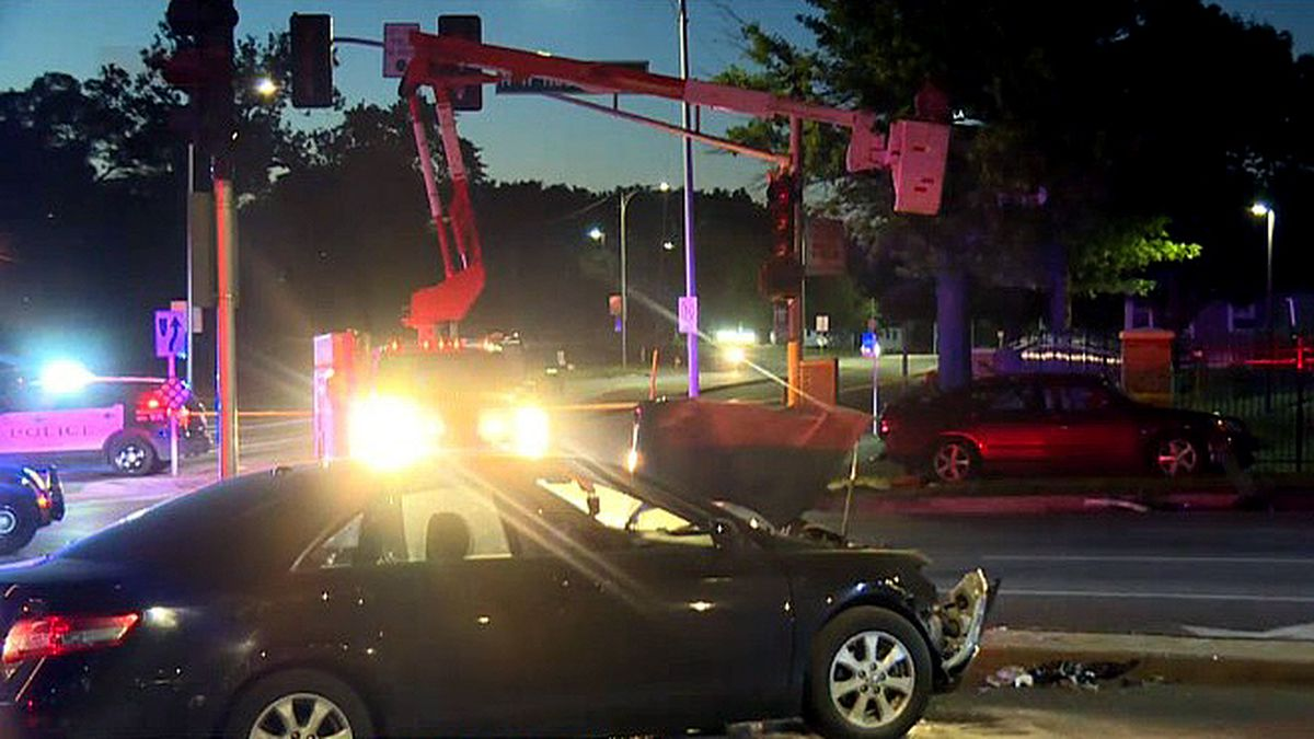 Three people were arrested after a pursuit ended in a two-car crash Tuesday night, June 23, 2020, at the intersection of 60th and Northwest Radial Highway in Benson. (WOWT)