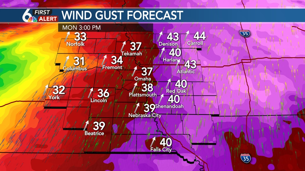 SW wind gusts up to 40 mph Monday