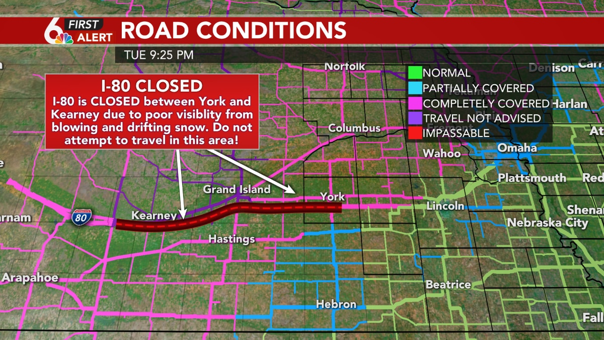 I-80 closed between York and Kearney due to snow and blowing snow. (WOWT)