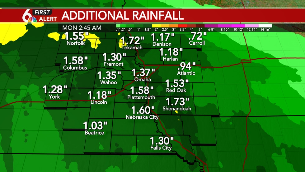 Additional rainfall totals of 1 to 2 inches possible Sunday