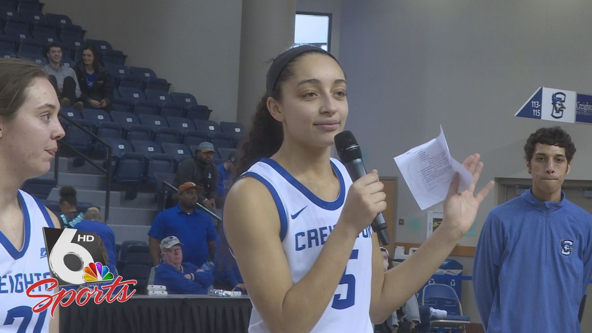 Creighton's Jaylyn Agnew addresses the crowd at D.J. Sokol Arena for Senior Day after...