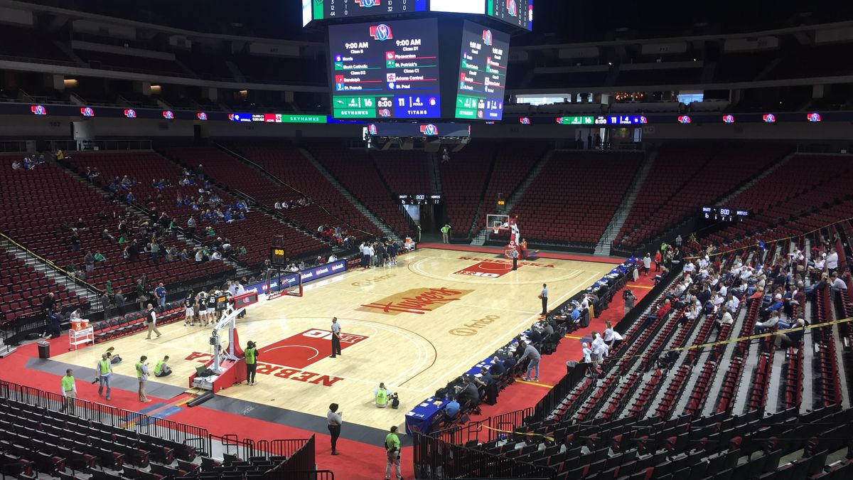 Omaha Skutt Catholic and Norris compete in the Class B state tournament at Pinnacle Bank Arena...