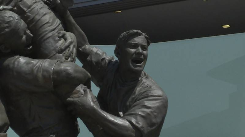 A shot of the Road to Omaha statue outside of TD Ameritrade Park in Omaha on Saturday, 6/19/21.