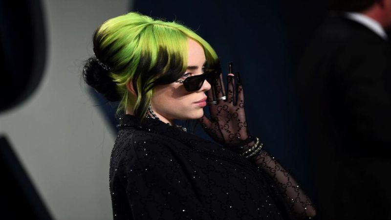 Billie Eilish arrives at the Vanity Fair Oscar Party on Sunday, Feb. 9, 2020, in Beverly Hills,...