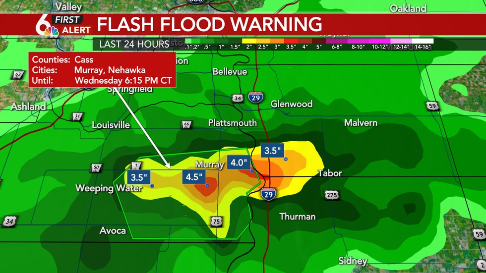 Flash Flood Warning for Cass County until 6:15pm.