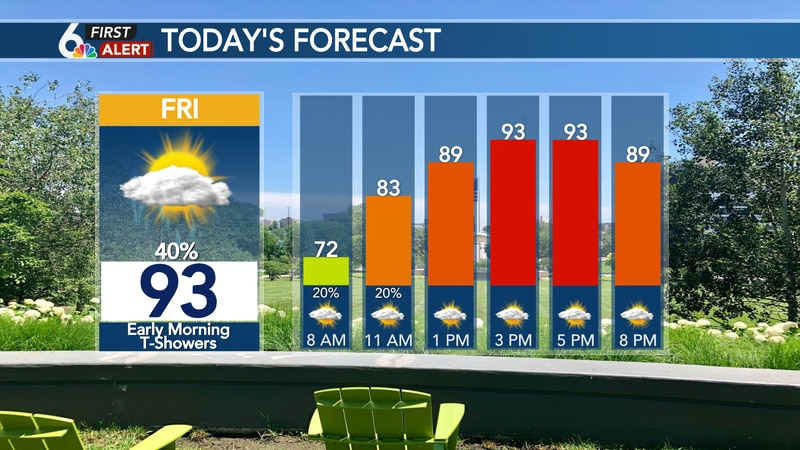 Friday's hour by hour forecast