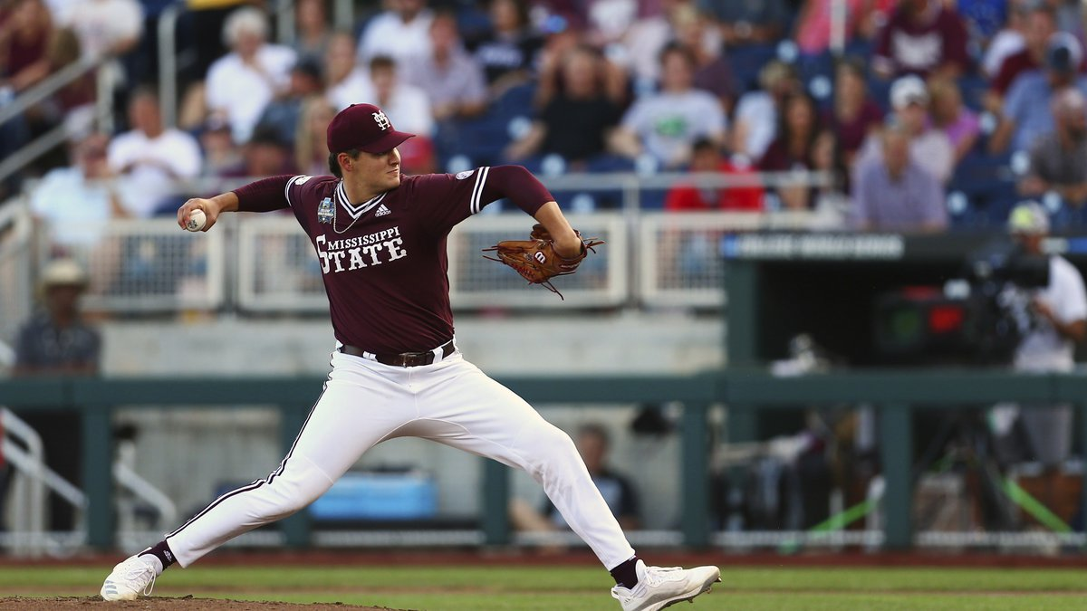 Mississippi State pitcher Will Bednar winds up against Vanderbilt during the fourth inning in...