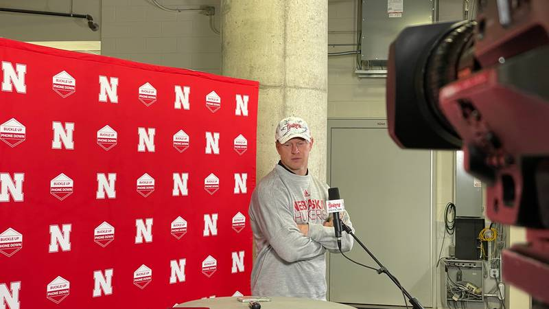 Scott Frost addresses the media after a practice during the team's first bye week at Memorial...