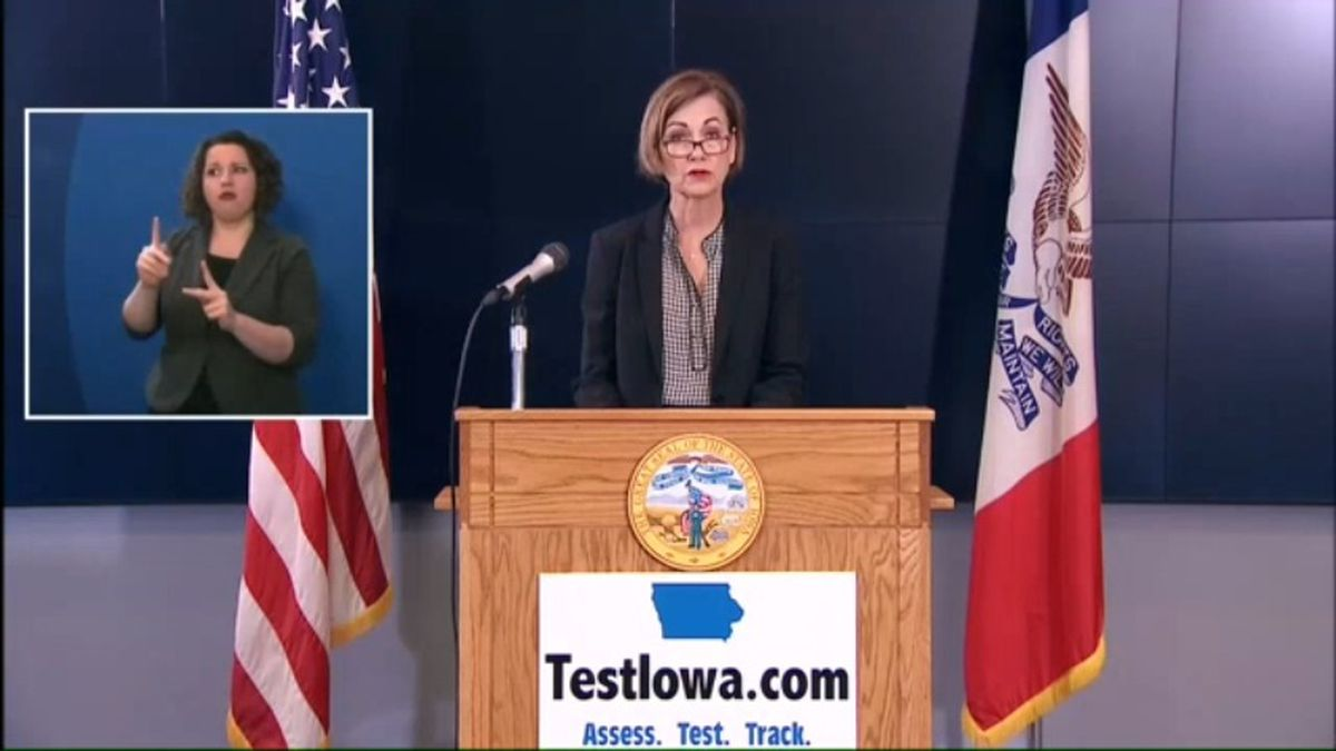 Gov. Kim Reynolds talks about the most recent developments in Iowa's COVID-19 response at her news conference Wednesday morning, May 27, 2020. (WOWT)