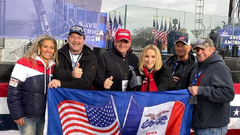 Gary Leffler, second from left, seen with a group of Republicans from Iowa showing support for...