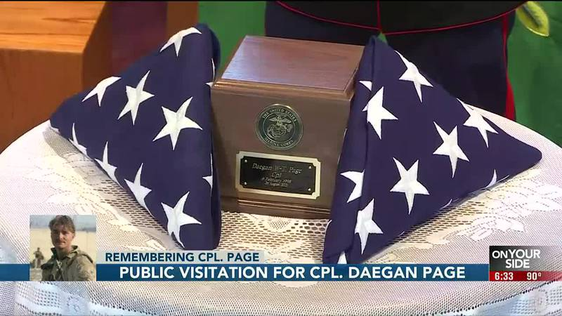 Cpl. Page's public visitation took place Thursday night from 5 p.m. to 8 p.m.