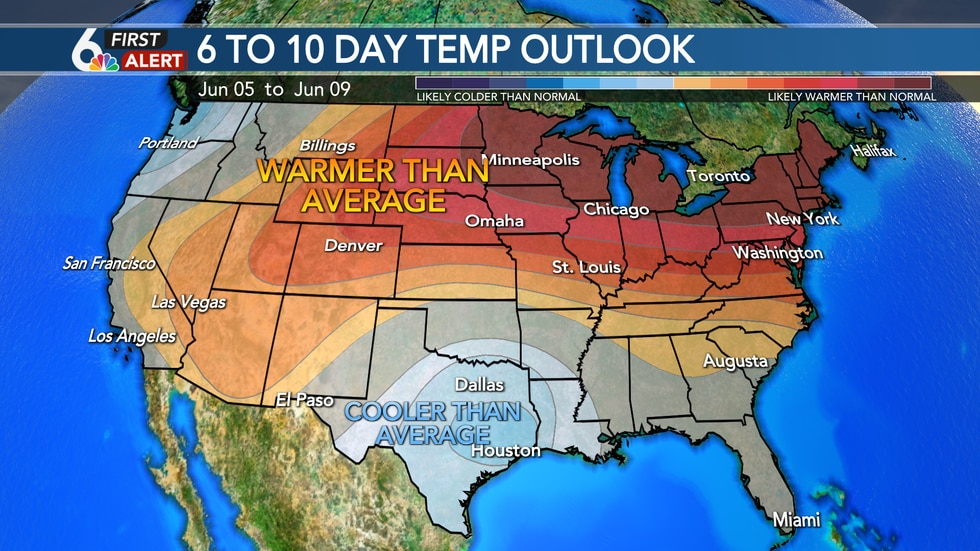 Trending warmer-than-average for the second half of the 10-day forecast!