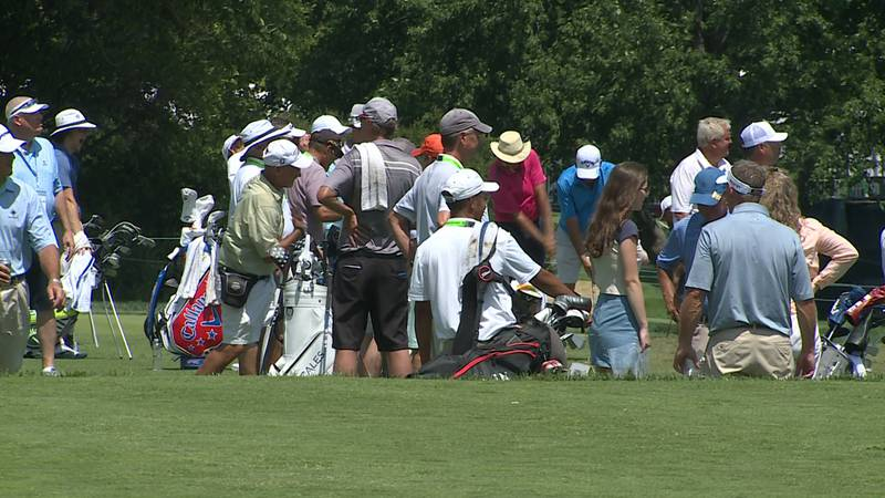 Golfers warm up during the practice round of the U.S. Senior Open Championship at the Omaha...