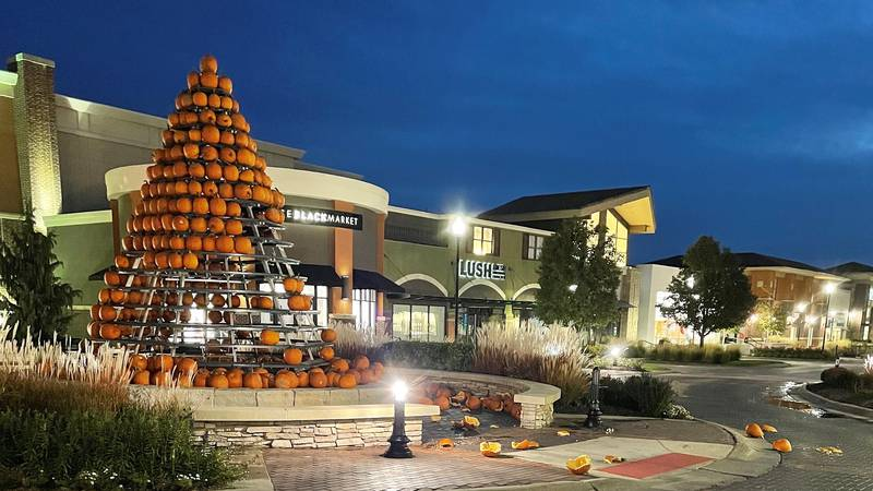 A tree-shaped pumpkin display at Village Pointe mall in west Omaha was vandalized Sunday night,...