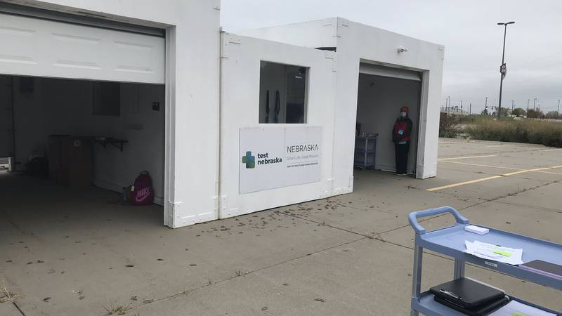 Douglas County Health Department's drive-thru vaccine clinic was set up in Lot D of the CHI...