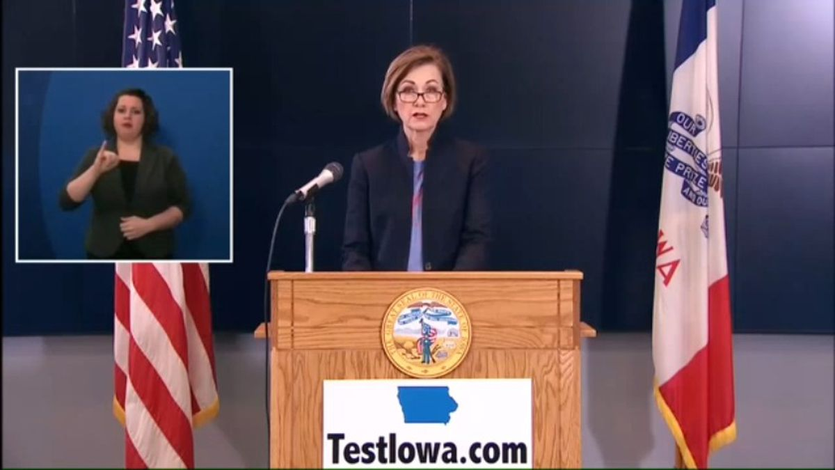 Gov. Kim Reynolds talks about the most recent developments in Iowa's COVID-19 response at her news conference Friday morning, May 20, 2020. (WOWT)