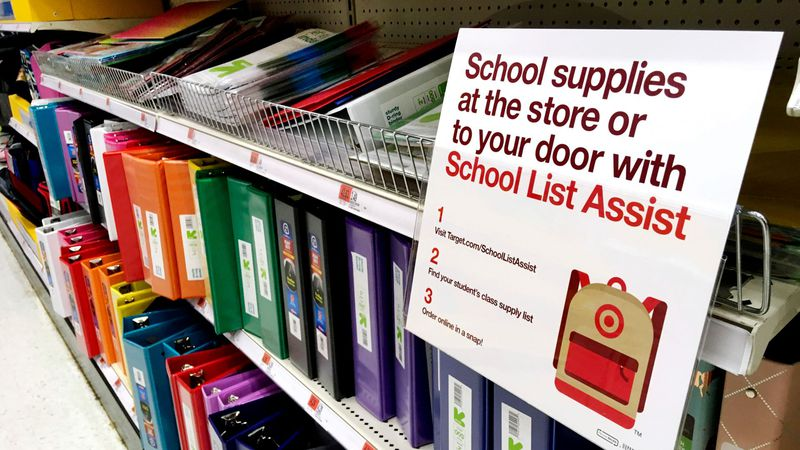 In this July 31, 2018 photo, school supplies are displayed in a store in Methuen, Mass.