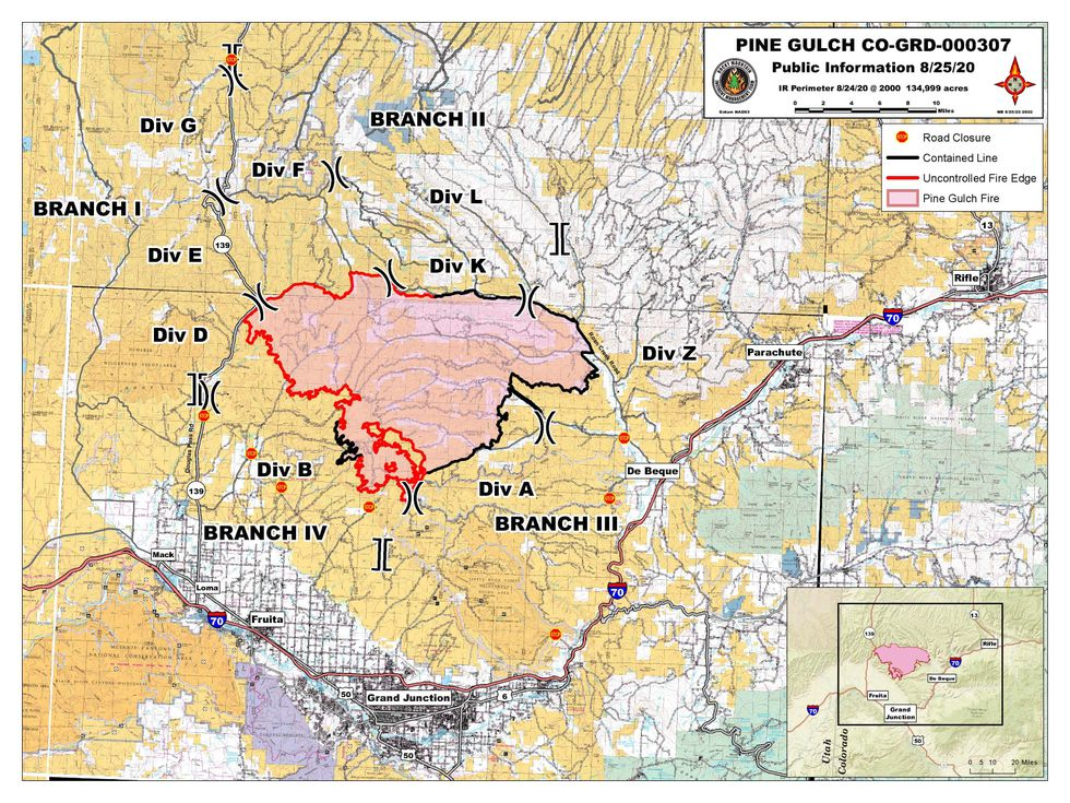The fire continues to be the most active near Division F.