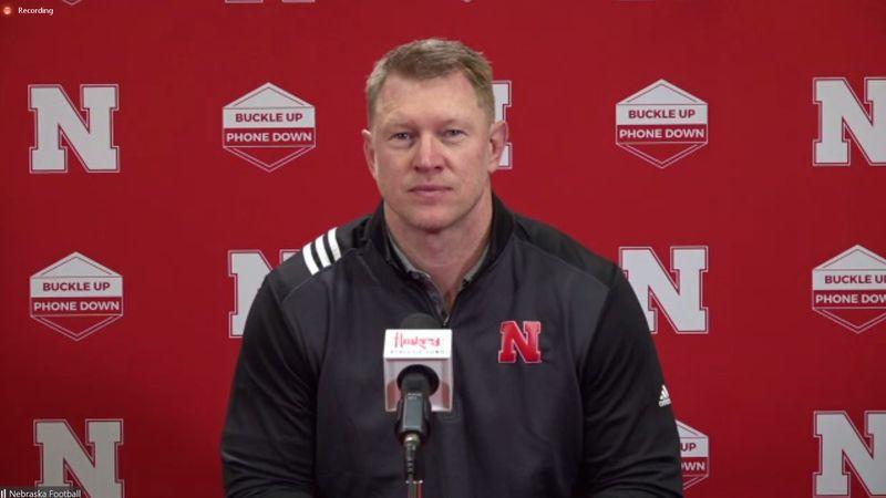 Scott Frost, head coach for the Nebraska football team, talks to news media Monday, March 29,...