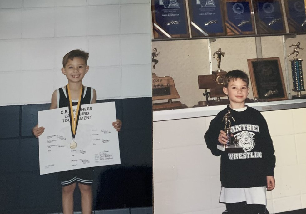 Young Thomas Gilman sporting wrestling medal from the CB Panthers Classic Early Bird Tournament